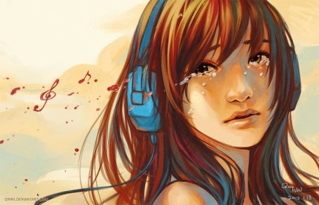 headphones women music tears artwork crying can 1400x900 wallpaper_www.wallmay.com_61