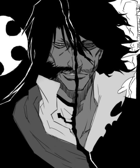 _black_hair_bleach_dual_persona_facial_hair_greyscale_highres_long_hair_military_military_uniform_monochrome_mutton_chops_personification_smile_spoilers_stubble_sunglasses_uniform_visor_wandenreich_yhwach_zangetsu__FaqCdLsxe8